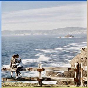 """Pañuelo de seda paisaje de mar """"Costa de enamorados""""-0"""